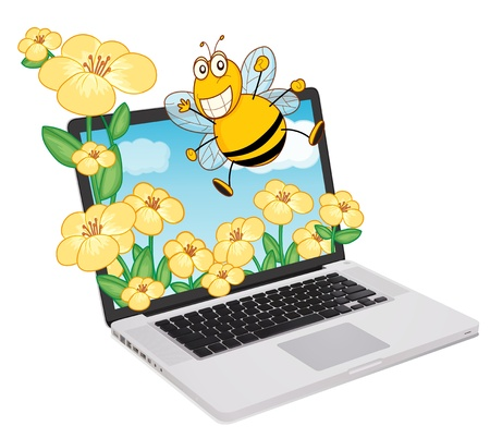 illustration of a laptop and bee, flowers on a white background Vector