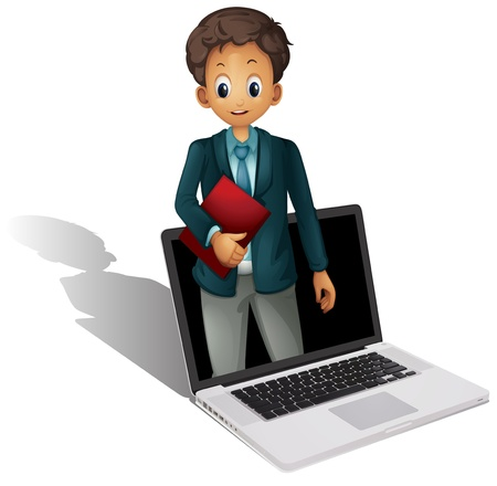 illustration of a laptop and man on a white background Stock Vector - 14253821