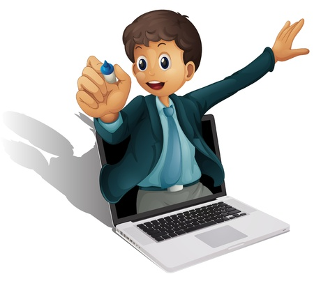 mousepad: illustration of a laptop and man on a white background Illustration