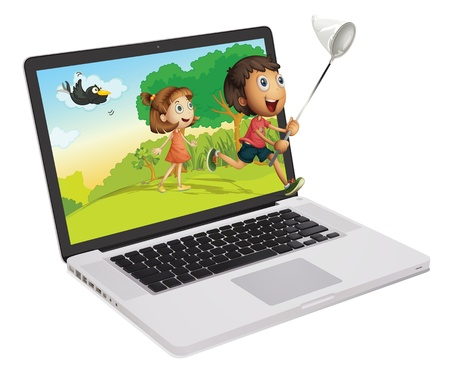 illustration of a laptop and kids on a white background Vector