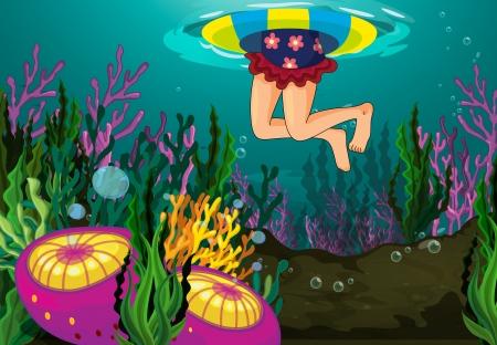 schwimmring: ein Mädchen Schwimmen in einem Wasser mit Schwimmer Illustration