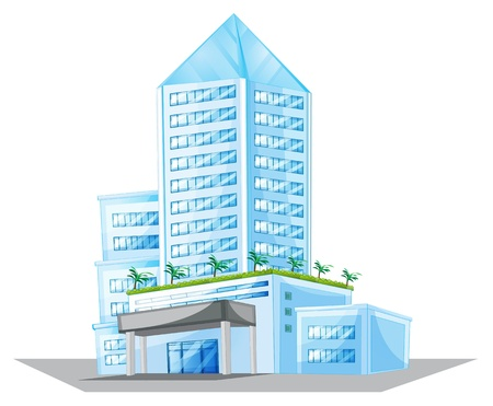 hotel building: illustration of a house on a white background