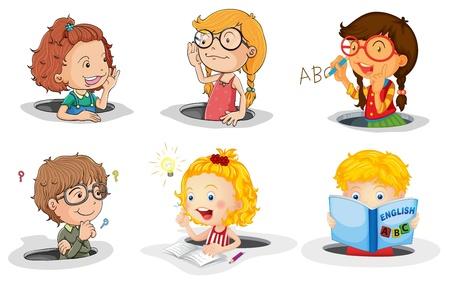 schreiben: Illustration eines Kinder im Loch auf wei�em Hintergrund