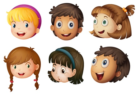cartoon face: illustration of a kids faces on a white background Illustration