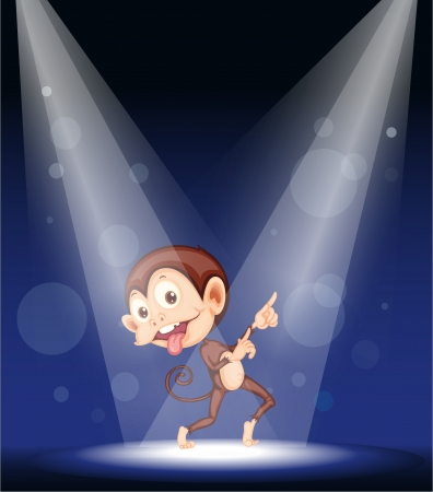 naughty: illustration of a monkey on stage