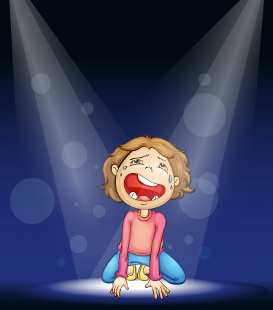 role play: illustration of a boy crying on stage