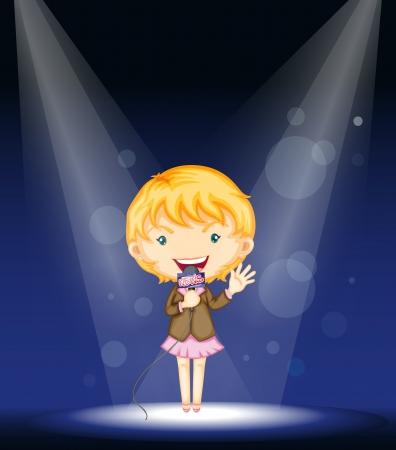 illustration of a girl performing on stage Vector