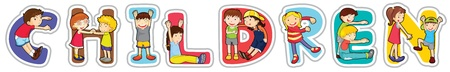 illustration of a boy and girl with surf pad on a sea shore Vector