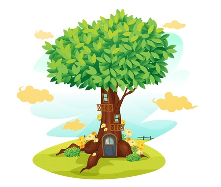 illustration of a tree house on a blue background