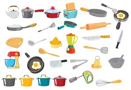 utencilios de cocina: ilustración de diversos utensilios en un blanco