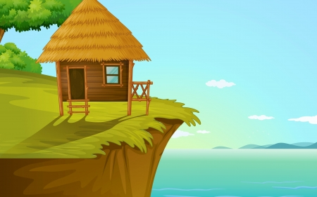 illustration of a house on a blue background Vector