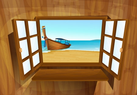 sea of houses: illustration of a window on a white background Illustration