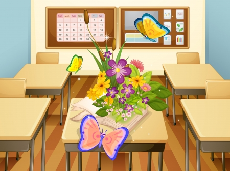 illustration of butterflies in a classroom Vector