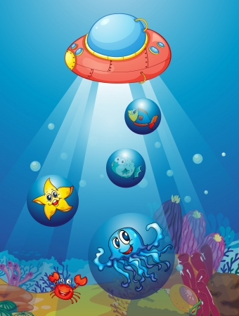 waters: illustration of submarine and fishes in deep sea waters