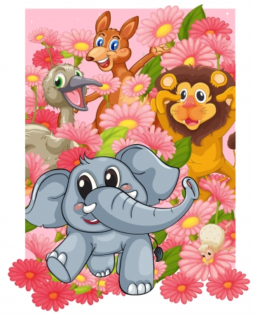 cartoon elephant: illustration of various animals in the flowers