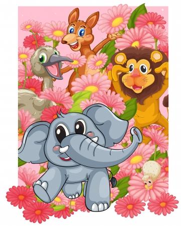 elefante cartoon: ilustraci�n de varios animales en las flores Vectores