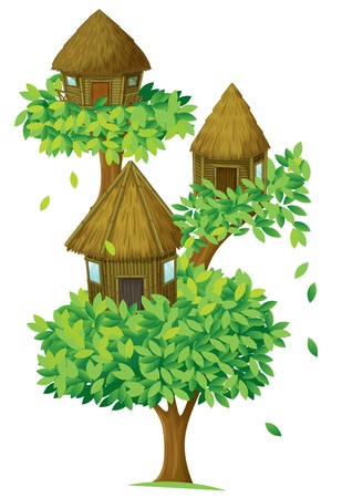 illustration of a tree house on a white background Vector