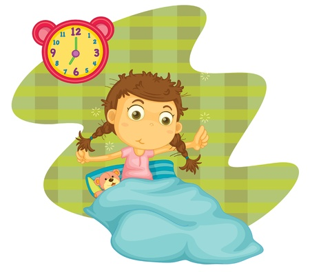 up wake: illustration of a girl awaken on a white background