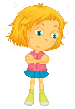 tired cartoon: illustration of a girl on a white background