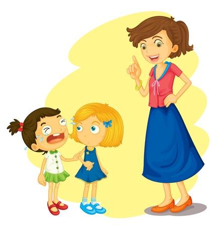 niño llorando: ilustración de una niñas sobre un fondo blanco