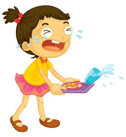 wenen: illustratie van een meisje te huilen op een witte achtergrond Stock Illustratie