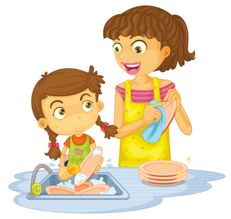 wash: illustration of a girls washing plates on a white background