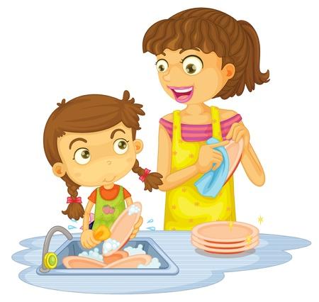 Niños ayudando: ilustración de algunas chicas lavando platos en un fondo blanco