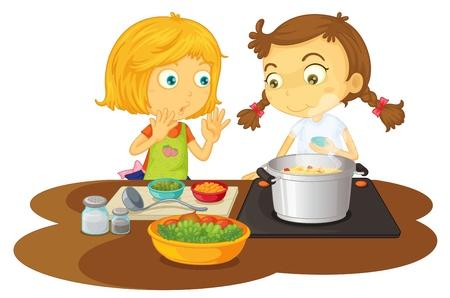 niños cocinando: ilustración de una cocción de alimentos niñas sobre un fondo blanco