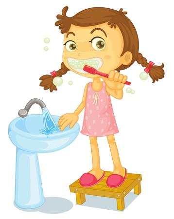 dientes caricatura: ilustración de una chica cepillarse los dientes sobre un fondo blanco