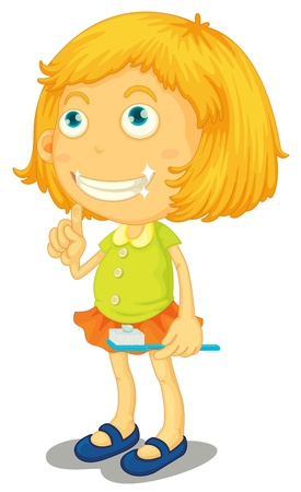 color hair: illustration of a girl brushing teeth on a white background