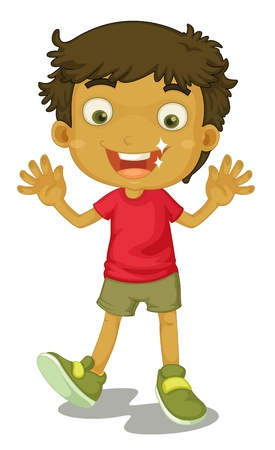 boys happy: illustration of a boy on a white background