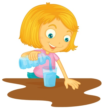 standing water: illustration of a girl pouring water in glass on a white background Illustration