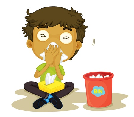 cold virus: illustration of a snizzing boy on a white background