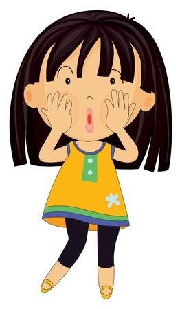 miedoso: ilustraci�n de una chica sobre un fondo blanco