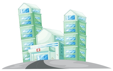 hospital cartoon: illustration of a house on a white background