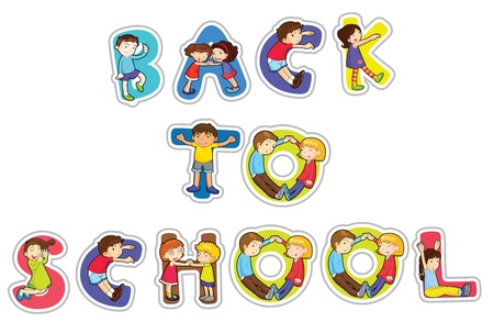 illustration of english word back to school on a white background Vector