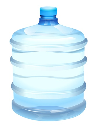 glass containers: illustration of a water bottle on a white background Illustration