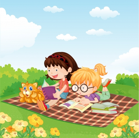 kids reading book: illustration of girls reading book in the garden
