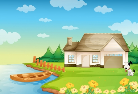house illustration: illustration of a house on the bank of river Illustration