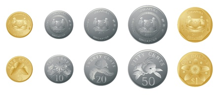 silver coins: illustration of gold and silver coins on a white background Illustration