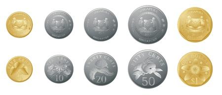 repujado: ilustraci�n de monedas de oro y plata sobre un fondo blanco