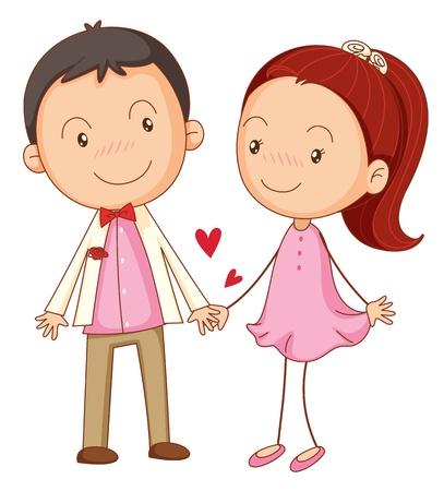 pareja adolescente: ilustraci�n de ni�o de AA y una chica en un fondo blanco