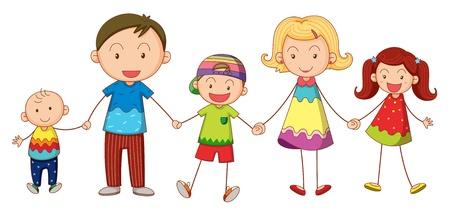 mums: ilustraci�n de una familia sobre un fondo blanco Vectores