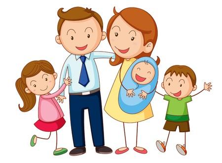 irm�o: Ilustração de uma família em um fundo branco Ilustra��o