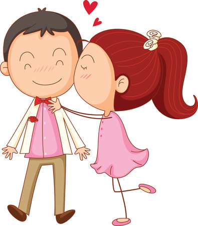 marriage cartoon: illustration of a a boy and a girl on a white background
