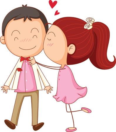 innamorati che si baciano: illustrazione del ragazzo aa e una ragazza su uno sfondo bianco