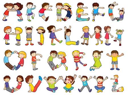 serie: Darstellung der Alphabete in Aktivit�ten f�r Kinder auf wei�em Hintergrund Illustration
