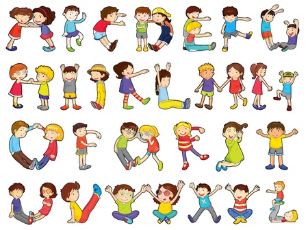 illustratie van alfabetten in activiteiten voor kinderen op een witte achtergrond Vector Illustratie