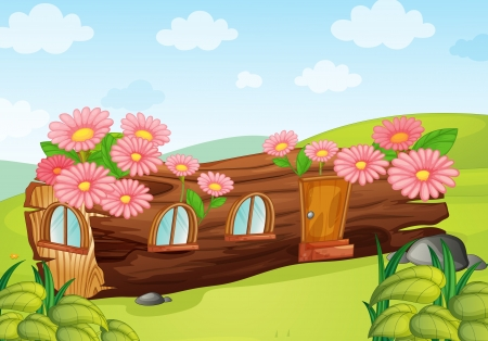 fairy garden: illustration of a wooden house on a blue background