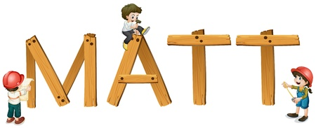 cartoon words: illustration of english word matt on a white background